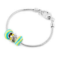 Charms Beads - MULTICOLOR MURANO GLASS SILVER PLATED YELLOW BIRTHSTONE SPACER SET FITS BEADS CHARMS BRACELETS FIT ALL BRANDS alternate image 1.