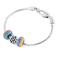 Charms Beads - MULTICOLOR CRYSTAL BALL SILVER PLATED KNITTING SPACER SET FITS BEADS CHARMS BRACELETS FIT ALL BRANDS alternate image 1.