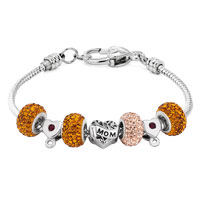 Charms Beads - YELLOW CRYSTAL SPACER HEART MOM SET FITS BEADS CHARMS BRACELETS FIT ALL BRANDS alternate image 1.