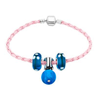 Charms Beads - NEW OCEAN BLUE BALL GLASS AND BEADS CHARMS BRACELETS FIT ALL BRANDS alternate image 1.
