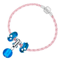 Charms Beads - NEW OCEAN BLUE BALL GLASS AND BEADS CHARMS BRACELETS FIT ALL BRANDS alternate image 2.