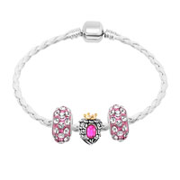 Bracelets - NEW VINTAGE CLEAR CRYSTAL PINK HEART WHITE LEATHER BEADED BRACELETS alternate image 1.