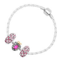 Bracelets - NEW VINTAGE CLEAR CRYSTAL PINK HEART WHITE LEATHER BEADED BRACELETS alternate image 2.