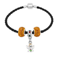Bracelets - CUTE ANGLE BEADES YELLOW CRYSTAL BLACK LEATHER BEADED CHARMS BRACELETS alternate image 1.