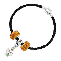 Bracelets - CUTE ANGLE BEADES YELLOW CRYSTAL BLACK LEATHER BEADED CHARMS BRACELETS alternate image 2.
