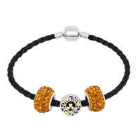Bracelets - MURANO GLASS YELLOW CRYSTAL BLACK LEATHER EUROPEAN CHARMS BRACELET alternate image 1.