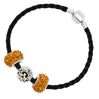 Bracelets - MURANO GLASS YELLOW CRYSTAL BLACK LEATHER EUROPEAN CHARMS BRACELET alternate image 2.