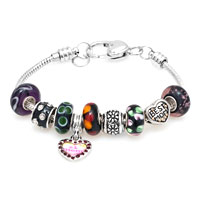 Bracelets - DARK COLOR MURANO GLASS SPACER BEAD DANGLE SNAKE CHAIN CHARMS BRACELET alternate image 1.