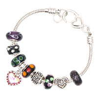 Bracelets - DARK COLOR MURANO GLASS SPACER BEAD DANGLE SNAKE CHAIN CHARMS BRACELET alternate image 2.