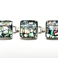 New Year Deals - FASHION SUMMER' S COLOR TURQUOISE SQUARE PATTERN SHELL BRACELETS alternate image 1.