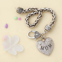 Bracelets - MOM MOTHER MOMMA CLEAR CRYSTAL HEART SILVER LOBSTER CLAW BRACELET JEWELRY BLING CHARM BRACELET alternate image 3.