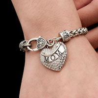 Bracelets - MOM MOTHER MOMMA CLEAR CRYSTAL HEART SILVER LOBSTER CLAW BRACELET JEWELRY BLING CHARM BRACELET alternate image 2.