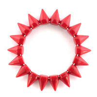 New Year Deals - GARNET RED ELASTIC ROCK PUNK RIVET STUDS SPIKE BANGLE CHARM STRETCH BRACELET alternate image 1.