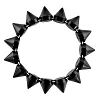 New Year Deals - CLASSIC BLACK ELASTIC ROCK PUNK RIVET STUDS SPIKE BANGLE CHARM STRETCH BRACELET alternate image 1.