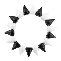 Bracelets - WHITE AND BLACK ELASTIC ROCK PUNK RIVET STUDS SPIKE BANGLE CHARM STRETCH BRACELET alternate image 1.