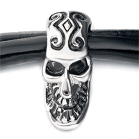 Man's Jewelry - MOTHERS DAY GIFTS MULTI STRAND SLIM BLACK LEATHER HALLOWEEN SKULL SILVER EAGLE HEAD BUTTON BRACELET alternate image 1.
