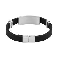 Bracelets - NEW MEN STAINLESS STEEL BANGLE BRACELET CUFF BLACK SILICONE RUBBER alternate image 1.