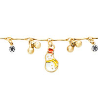 Bracelets - 18 K GOLD PLATED HEART LOVE DANGLE ANKLE BRACELET ANKLET LOBSTER CLASP MADE WITH SWAROVSKI ELEMENTS alternate image 1.