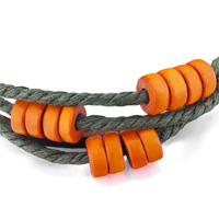 Man's Jewelry - MULTI STRAND ORANGE BEADS ON YELLOW GREEN ROPE DARK BROWN LEATHER WRAP BRACELET alternate image 1.