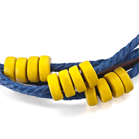 Bracelets - MOTHERS DAY GIFTS MULTI STRAND YELLOW BEADS ON BLUE ROPE DARK BROWN LEATHER WRAP BRACELET alternate image 1.