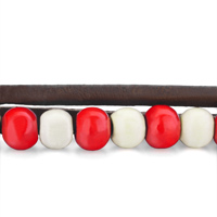 Bracelets - RED WHITE BEADS ON ROPE BROWN LEATHER COTTON WRAP BRACELET alternate image 1.