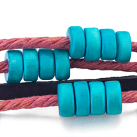 Bracelets - MULTI STRAND BLUE BEADS ON PINK ROPE DARK BROWN LEATHER WRAP BRACELET alternate image 1.