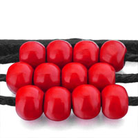 Man's Jewelry - MOTHERS DAY GIFTS MULTI STRAND RED BEADS ON BLACK LEATHER WRAP BRACELET alternate image 1.