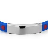 Bracelets - ROYAL BLUE& AMP; HOT PINK SILICA GEL OVERLAPPED FORMING HEARTS RECTANGLE BRACELET LICENSED CHARM BRACELET alternate image 1.