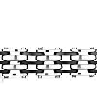 Bracelets - PUNK MEN' S BRACELET LINKED 3  ROW BLACK RUBBER WAVE alternate image 1.