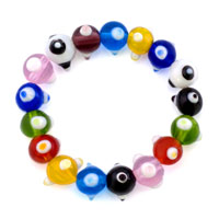 Bracelets - EVIL EYES BRACELETS MULTICOLOR GLASS EYE BEADS SWAROVSKI EVIL BRACELET alternate image 1.
