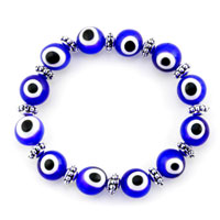 Bracelets - EVIL EYES BRACELETS EYE BEADS SAPPHIRE BLUE SWAROVSKI EVIL MURANO GLASS BRACELET alternate image 1.