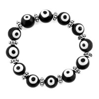 Bracelets - EVIL EYES BRACELETS GLASS EYE BEADS BLACK SWAROVSKI EVIL BRACELET alternate image 1.