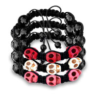 New Year Deals - LIGHT RED SHAMBALLA BRACELET HOWLITE HALLOWEEN SKULL BLACK BEADS alternate image 1.