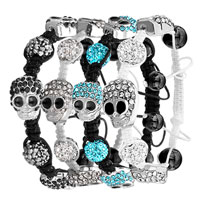 Man's Jewelry - SHAMBALLA BRACELET BLACK CRYSTAL DISCO BALL HALLOWEEN SKULL alternate image 1.