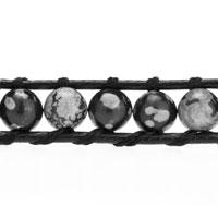 Bracelets - GREY STONE ON BLACK LEATHER WRAP BRACELET alternate image 1.