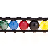 Bracelets - MULTI COLOR SHAMBALLA WRIST CHAIN ON BLACK LEATHER WRAP BRACELET alternate image 1.