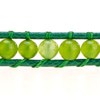 Bracelets - PERIDOT GREEN STONE ON LEATHER WRAP BRACELET alternate image 1.