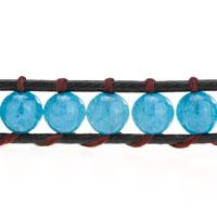 Bracelets - AQUAMARINE BLUE STONE ON BLACK LEATHER WRAP BRACELET alternate image 1.