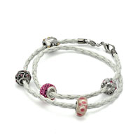Charms Beads - SNAKE CHARMS SNAKE CHAINS SNAKE BRACELETS CLEAR WHITE LEATHER WRIST CHAIN BRACELET alternate image 1.