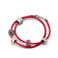 Charms Beads - SNAKE CHARMS SNAKE CHAINS SNAKE BRACELETS LIGHT RED LEATHER BRACELET alternate image 1.