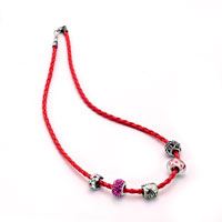 Charms Beads - SNAKE CHARMS SNAKE CHAINS SNAKE BRACELETS LIGHT RED LEATHER BRACELET alternate image 2.