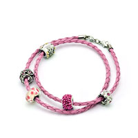 Charms Beads - SNAKE CHARMS SNAKE CHAINS SNAKE BRACELETS ROSE PINK LEATHER BRACELET alternate image 1.