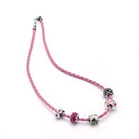 Charms Beads - SNAKE CHARMS SNAKE CHAINS SNAKE BRACELETS ROSE PINK LEATHER BRACELET alternate image 2.