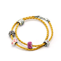 Charms Beads - SNAKE CHARMS SNAKE CHAINS SNAKE BRACELETS YELLOW LEATHER BRACELET alternate image 1.