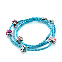 Bracelets - SNAKE CHARMS SNAKE CHAINS SNAKE BRACELETS AQUAMARINE BLUE LEATHER BRACELET alternate image 1.