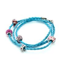 Bracelets - SNAKE CHARMS SNAKE CHAINS SNAKE BRACELETS AQUAMARINE BLUE LEATHER BRACELET alternate image 1.
