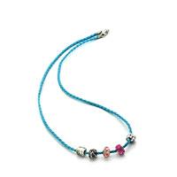 Bracelets - SNAKE CHARMS SNAKE CHAINS SNAKE BRACELETS AQUAMARINE BLUE LEATHER BRACELET alternate image 2.