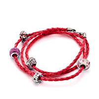 Charms Beads - SNAKE CHARMS SNAKE CHAINS SNAKE BRACELETS LIGHT RED LEATHER BRACELET BRACELETS alternate image 1.