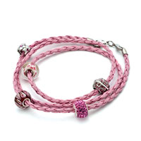 Charms Beads - SNAKE CHARMS SNAKE CHAINS SNAKE BRACELETS ROSE PINK LEATHER BRACELET BRACELETS alternate image 1.