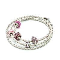 Bracelets - SNAKE CHARMS SNAKE CHAINS SNAKE BRACELETS CLEAR WHITE LEATHER WOVEN WRIST CHAIN BRACELET alternate image 1.
